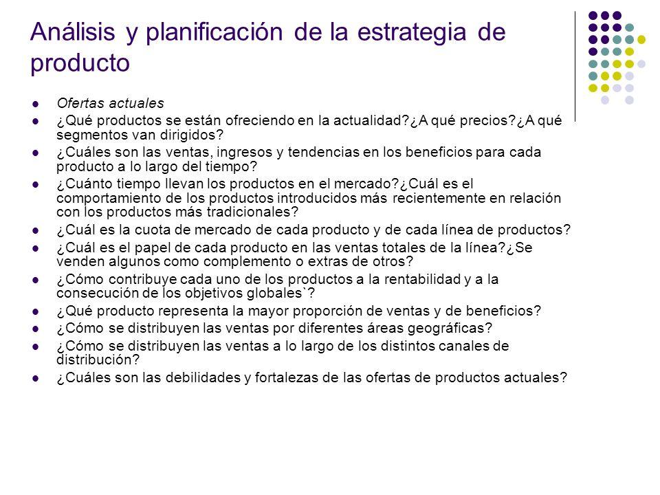 Análisis y planificación de la estrategia de producto Ofertas actuales ¿Qué productos se están ofreciendo en la actualidad?¿A qué precios?¿A qué segme