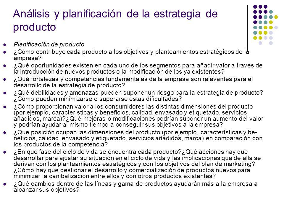 Análisis y planificación de la estrategia de producto Planificación de producto ¿Cómo contribuye cada producto a los objetivos y planteamientos estrat
