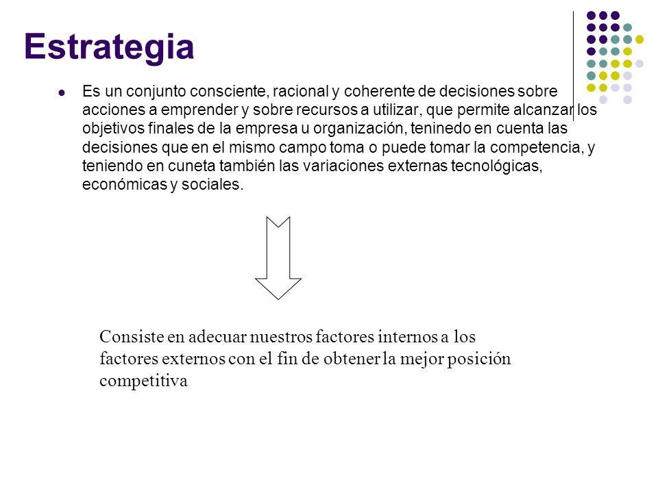 Estrategia Es un conjunto consciente, racional y coherente de decisiones sobre acciones a emprender y sobre recursos a utilizar, que permite alcanzar