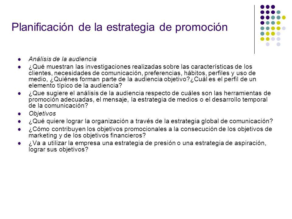 Planificación de la estrategia de promoción Análisis de la audiencia ¿Qué muestran las investigaciones realizadas sobre las características de los cli