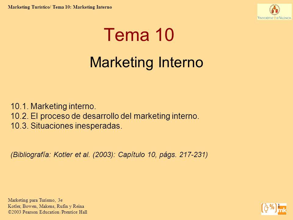 Marketing Turístico/ Tema 10: Marketing Interno 2 Marketing para Turismo, 3e Kotler, Bowen, Makens, Rufin y Reina ©2003 Pearson Education /Prentice Hall 1.