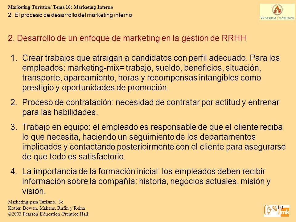 Marketing Turístico/ Tema 10: Marketing Interno 10 Marketing para Turismo, 3e Kotler, Bowen, Makens, Rufin y Reina ©2003 Pearson Education /Prentice H