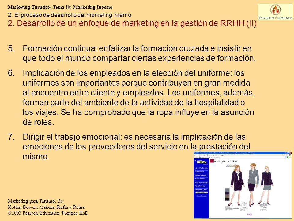 Marketing Turístico/ Tema 10: Marketing Interno 11 Marketing para Turismo, 3e Kotler, Bowen, Makens, Rufin y Reina ©2003 Pearson Education /Prentice H