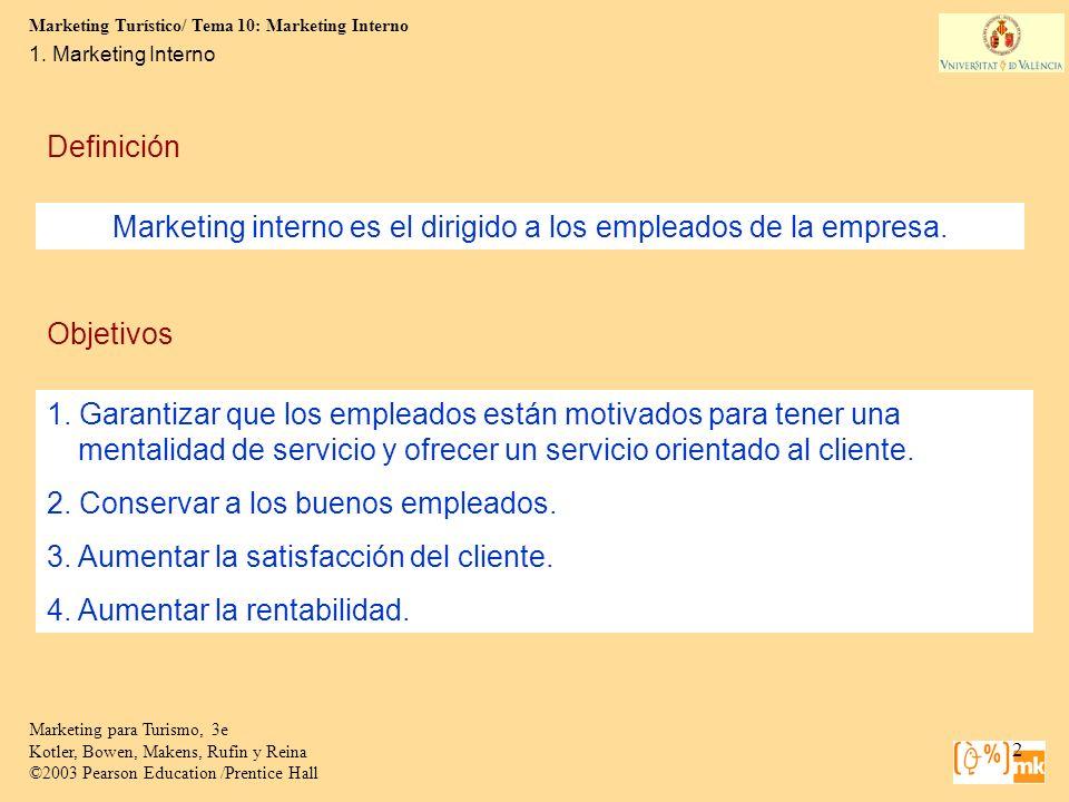 Marketing Turístico/ Tema 10: Marketing Interno 13 Marketing para Turismo, 3e Kotler, Bowen, Makens, Rufin y Reina ©2003 Pearson Education /Prentice Hall 4.