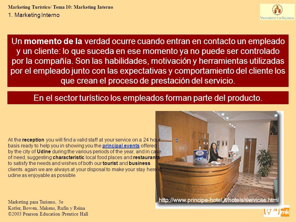 Marketing Turístico/ Tema 10: Marketing Interno 4 Marketing para Turismo, 3e Kotler, Bowen, Makens, Rufin y Reina ©2003 Pearson Education /Prentice Ha