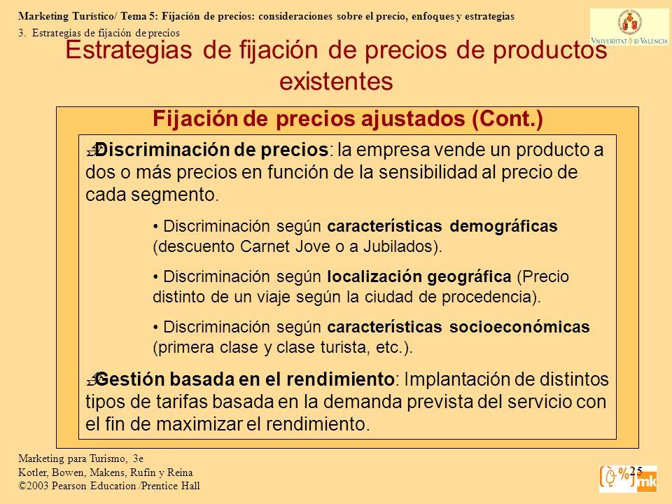 Marketing Turístico/ Tema 5: Fijación de precios: consideraciones sobre el precio, enfoques y estrategias Marketing para Turismo, 3e Kotler, Bowen, Ma