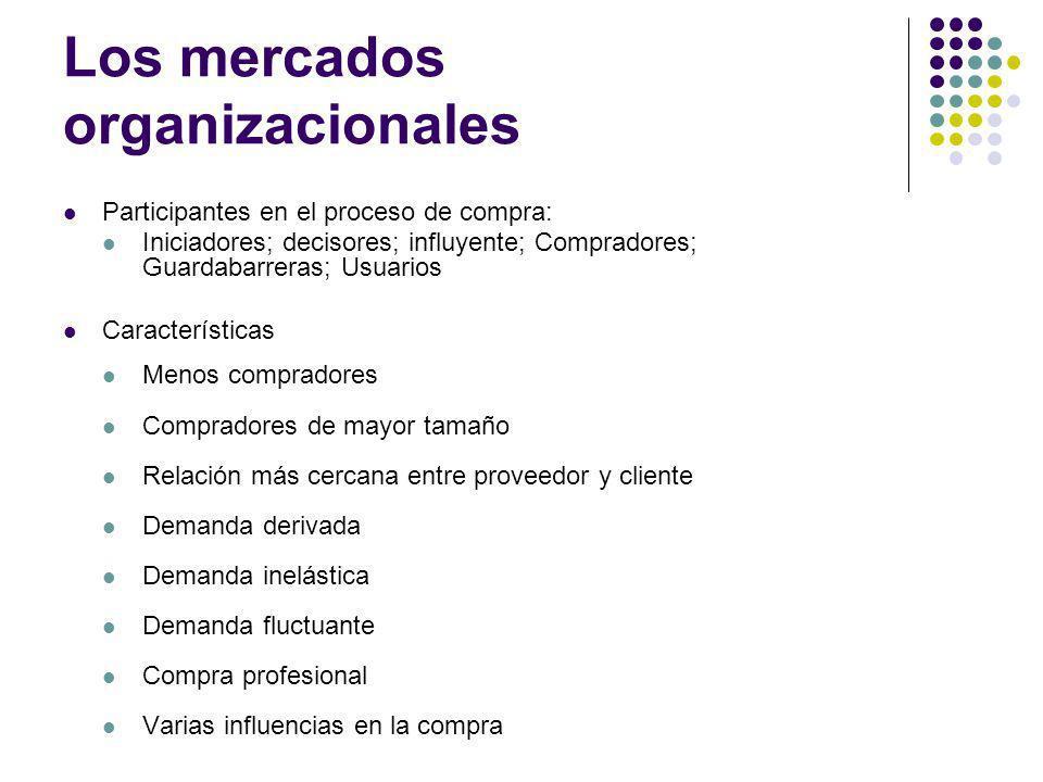 Los mercados organizacionales Participantes en el proceso de compra: Iniciadores; decisores; influyente; Compradores; Guardabarreras; Usuarios Caracte