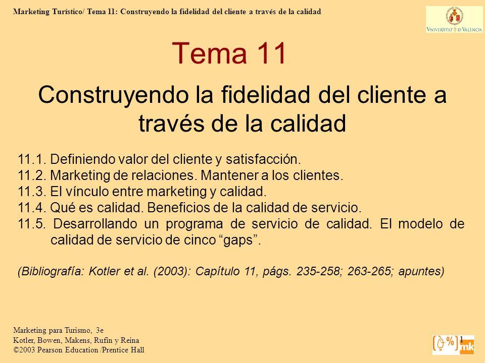 Marketing Turístico/ Tema 11: Construyendo la fidelidad del cliente a través de la calidad 1 Marketing para Turismo, 3e Kotler, Bowen, Makens, Rufin y