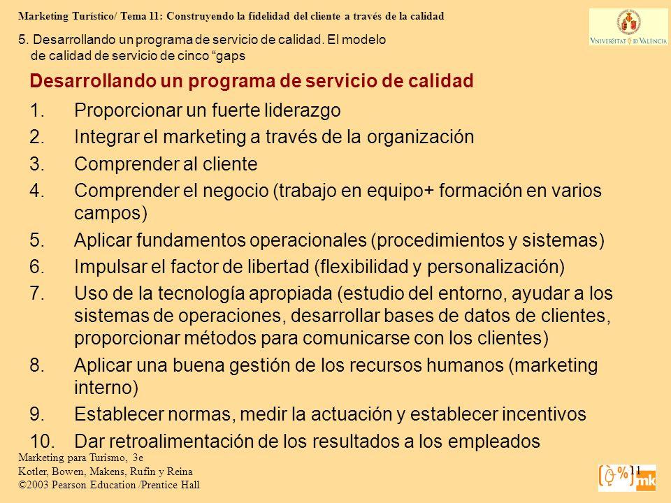 Marketing Turístico/ Tema 11: Construyendo la fidelidad del cliente a través de la calidad 11 Marketing para Turismo, 3e Kotler, Bowen, Makens, Rufin