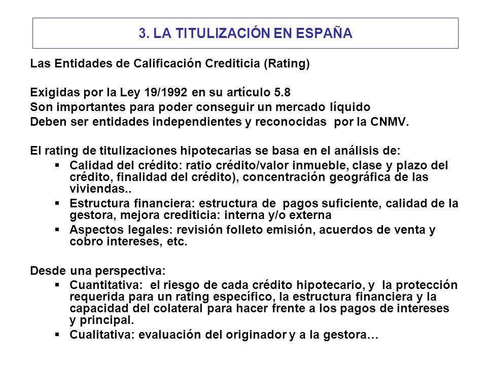 Las Entidades de Calificación Crediticia (Rating) Exigidas por la Ley 19/1992 en su artículo 5.8 Son importantes para poder conseguir un mercado líquido Deben ser entidades independientes y reconocidas por la CNMV.