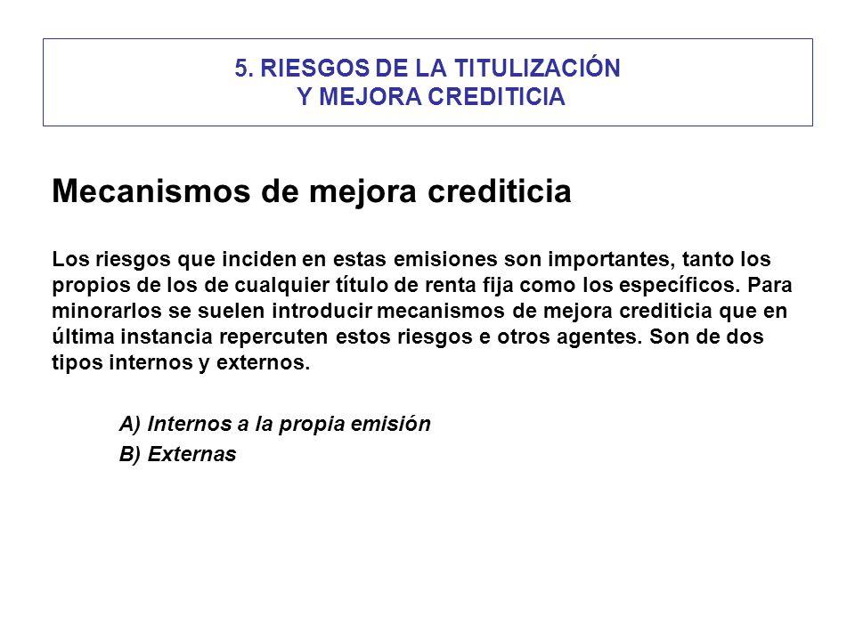 5. RIESGOS DE LA TITULIZACIÓN Y MEJORA CREDITICIA Mecanismos de mejora crediticia Los riesgos que inciden en estas emisiones son importantes, tanto lo