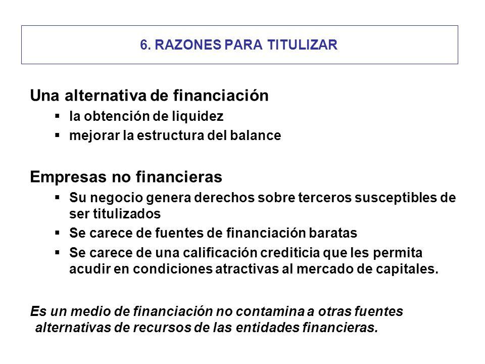 6. RAZONES PARA TITULIZAR Una alternativa de financiación la obtención de liquidez mejorar la estructura del balance Empresas no financieras Su negoci