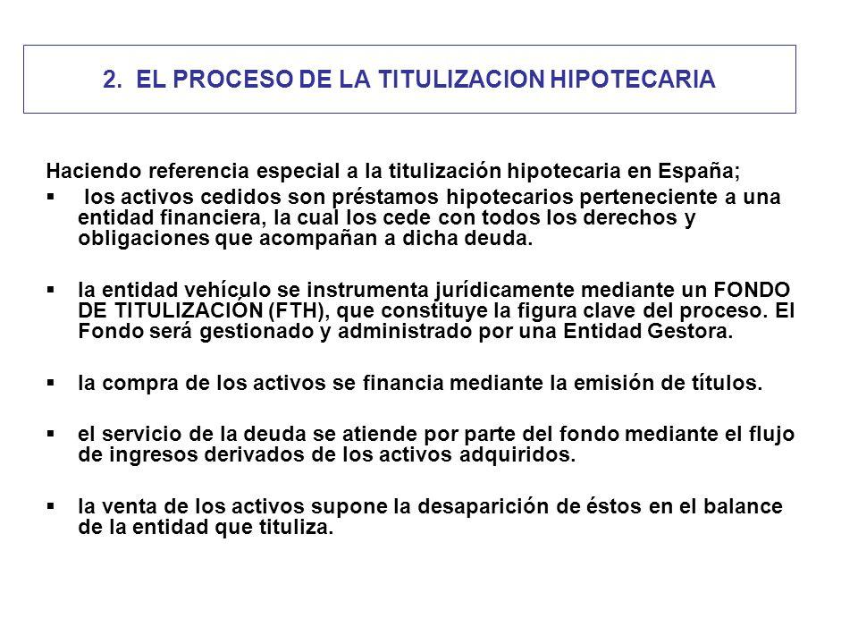 2. EL PROCESO DE LA TITULIZACION HIPOTECARIA Haciendo referencia especial a la titulización hipotecaria en España; los activos cedidos son préstamos h