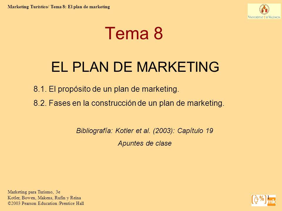 Marketing Turístico/ Tema 8: El plan de marketing Marketing para Turismo, 3e Kotler, Bowen, Makens, Rufin y Reina ©2003 Pearson Education /Prentice Hall 2 Propósitos de un plan de marketing Da las directrices para todas las actividades de marketing de la empresa durante el año siguiente.
