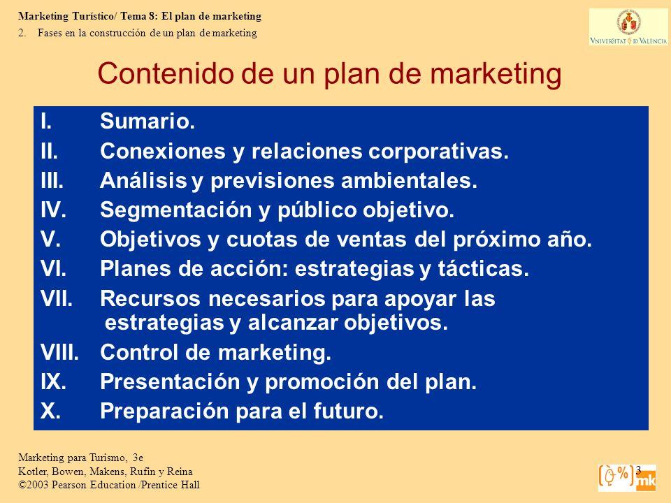 Marketing Turístico/ Tema 8: El plan de marketing Marketing para Turismo, 3e Kotler, Bowen, Makens, Rufin y Reina ©2003 Pearson Education /Prentice Hall 4 2.Fases en la construcción de un plan de marketing Contenido de un plan de marketing