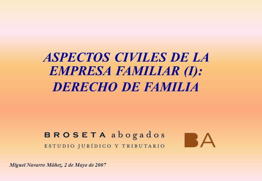 ASPECTOS CIVILES DE LA EMPRESA FAMILIAR (I): DERECHO DE FAMILIA Miguel Navarro Máñez, 2 de Mayo de 2007