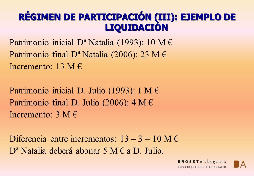 RÉGIMEN DE PARTICIPACIÓN (III): EJEMPLO DE LIQUIDACIÓN Patrimonio inicial Dª Natalia (1993): 10 M Patrimonio final Dª Natalia (2006): 23 M Incremento: