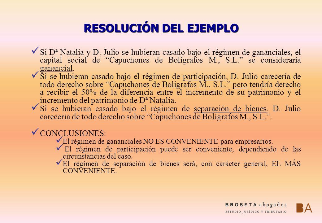 RESOLUCIÓN DEL EJEMPLO Si Dª Natalia y D. Julio se hubieran casado bajo el régimen de gananciales, el capital social de Capuchones de Bolígrafos M., S
