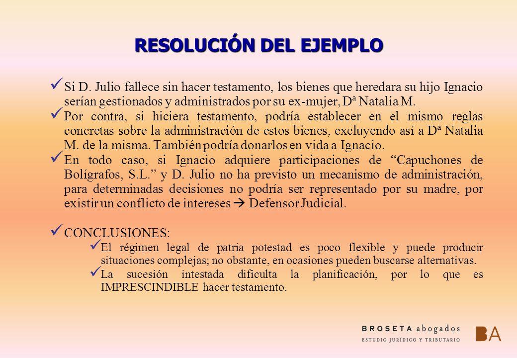 RESOLUCIÓN DEL EJEMPLO Si D. Julio fallece sin hacer testamento, los bienes que heredara su hijo Ignacio serían gestionados y administrados por su ex-