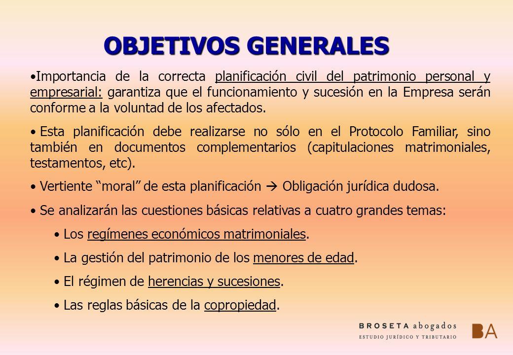 OBJETIVOS GENERALES Importancia de la correcta planificación civil del patrimonio personal y empresarial: garantiza que el funcionamiento y sucesión e