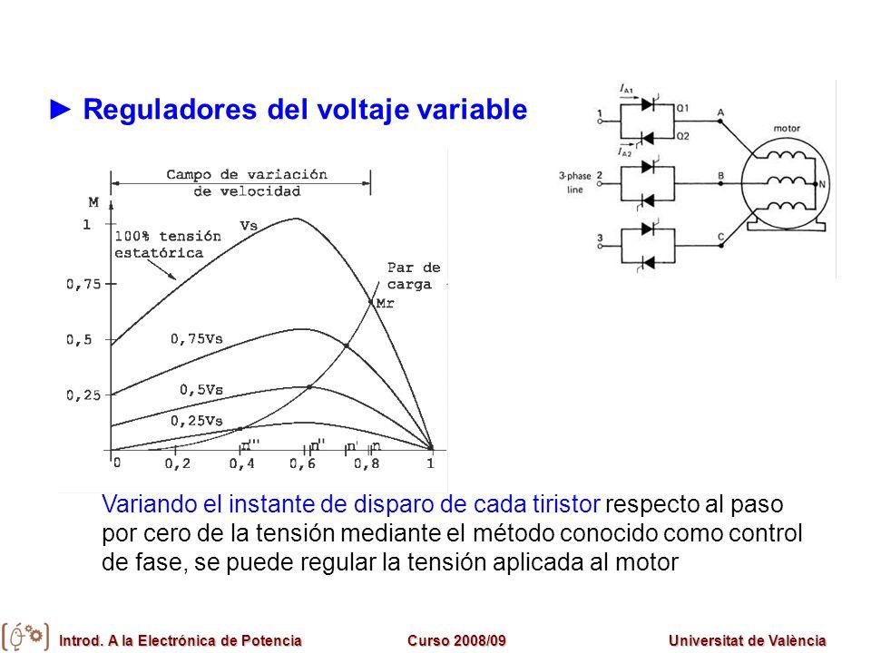 Introd. A la Electrónica de PotenciaCurso 2008/09Universitat de València Reguladores del voltaje variable Variando el instante de disparo de cada tiri