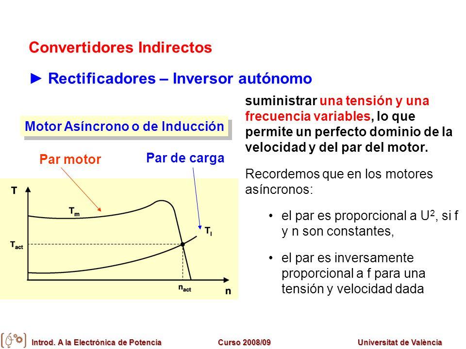 Introd. A la Electrónica de PotenciaCurso 2008/09Universitat de València Convertidores Indirectos Rectificadores – Inversor autónomo suministrar una t