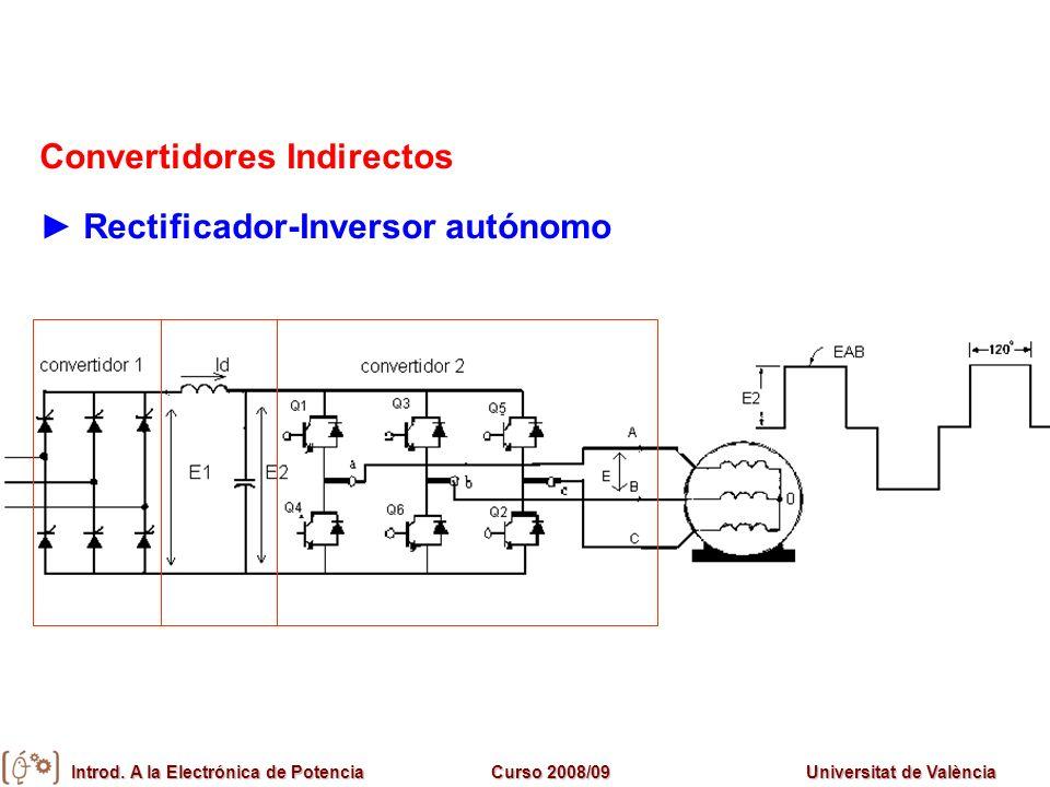 Introd. A la Electrónica de PotenciaCurso 2008/09Universitat de València Convertidores Indirectos Rectificador-Inversor autónomo