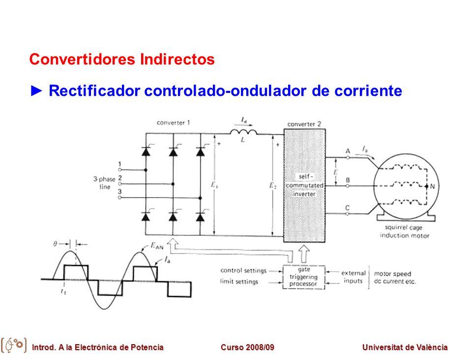 Introd. A la Electrónica de PotenciaCurso 2008/09Universitat de València Convertidores Indirectos Rectificador controlado-ondulador de corriente