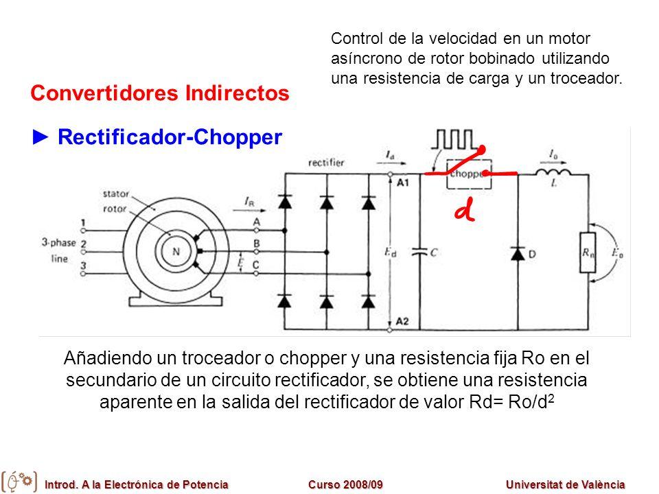 Introd. A la Electrónica de PotenciaCurso 2008/09Universitat de València Convertidores Indirectos Rectificador-Chopper Añadiendo un troceador o choppe
