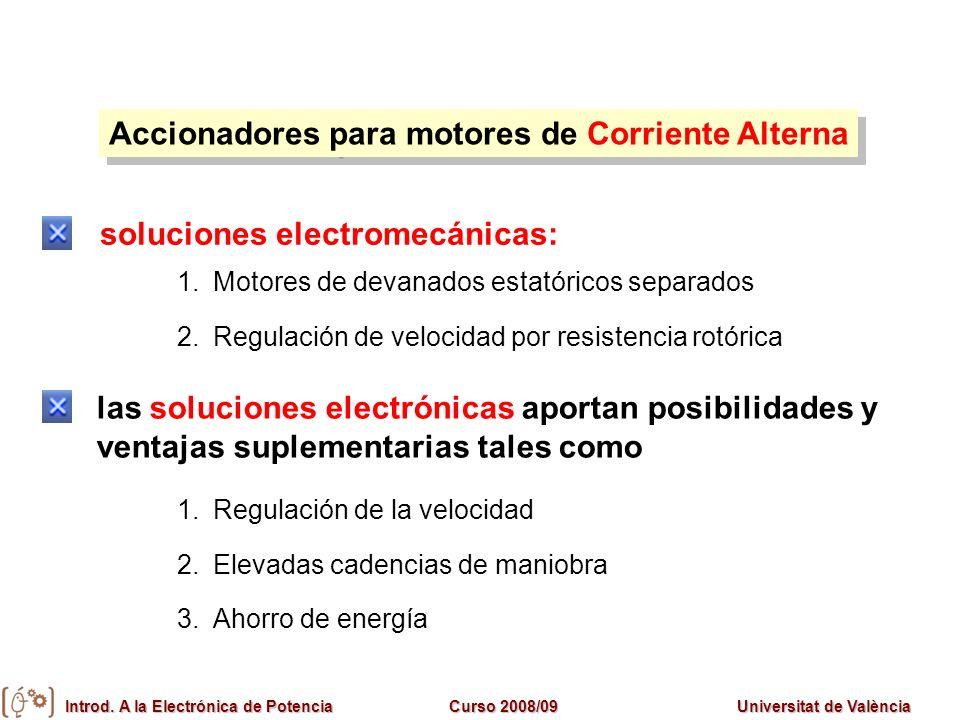 Introd. A la Electrónica de PotenciaCurso 2008/09Universitat de València Accionadores para motores de Corriente Alterna 1.Regulación de la velocidad 2