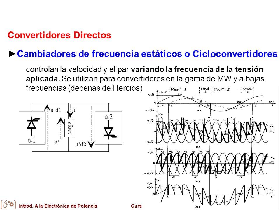 Introd. A la Electrónica de PotenciaCurso 2008/09Universitat de València Convertidores Directos Cambiadores de frecuencia estáticos o Cicloconvertidor