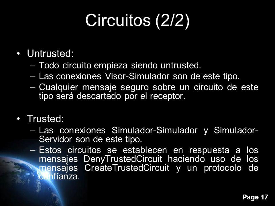 Page 16 Circuitos (1/2) Un circuito es una conexión UDP entre dos nodos: –Visor-Simulador –Simulador-Simulador –Simulador-Servidor Tipos: –Trusted –Untrusted