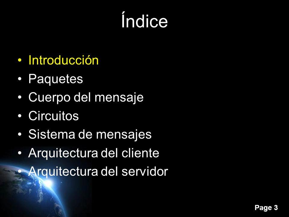 Page 2 Índice Introducción Paquetes Cuerpo del mensaje Circuitos Sistema de mensajes Arquitectura del cliente Arquitectura del servidor