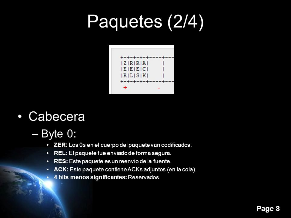 Page 8 Paquetes (2/4) Cabecera –Byte 0: ZER: Los 0s en el cuerpo del paquete van codificados.