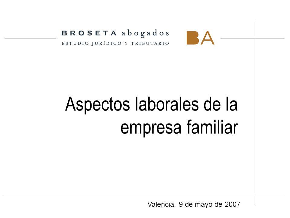 Aspectos laborales de la empresa familiar Valencia, 9 de mayo de 2007