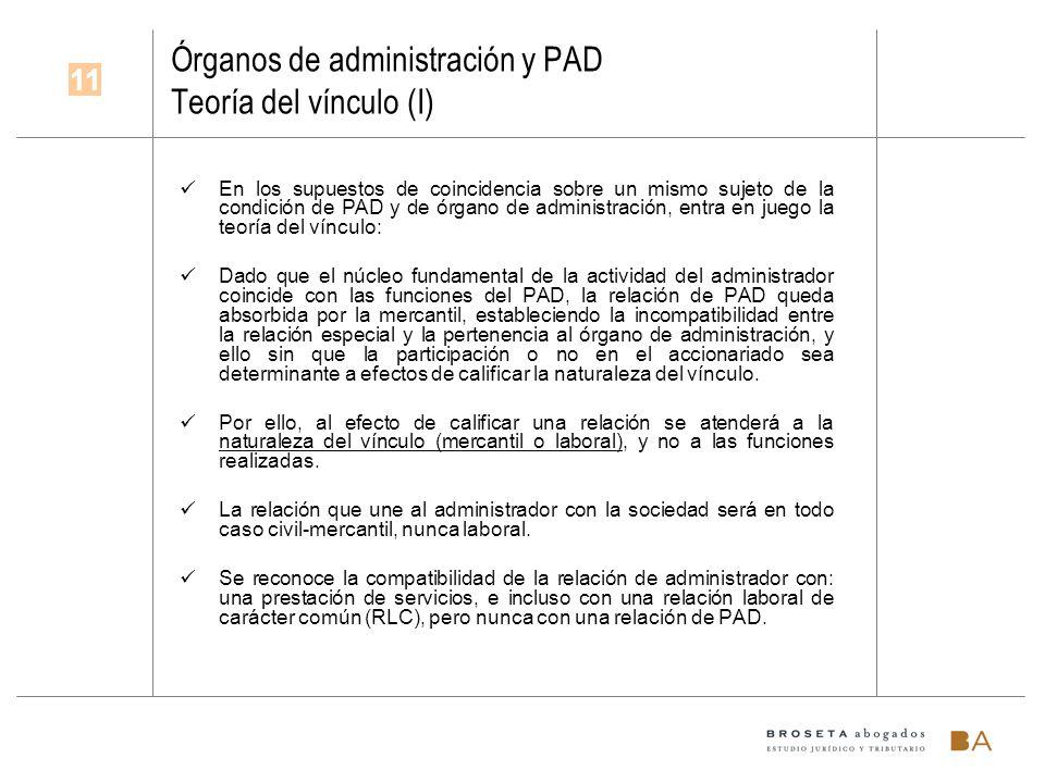 Órganos de administración y PAD Teoría del vínculo (I) En los supuestos de coincidencia sobre un mismo sujeto de la condición de PAD y de órgano de ad