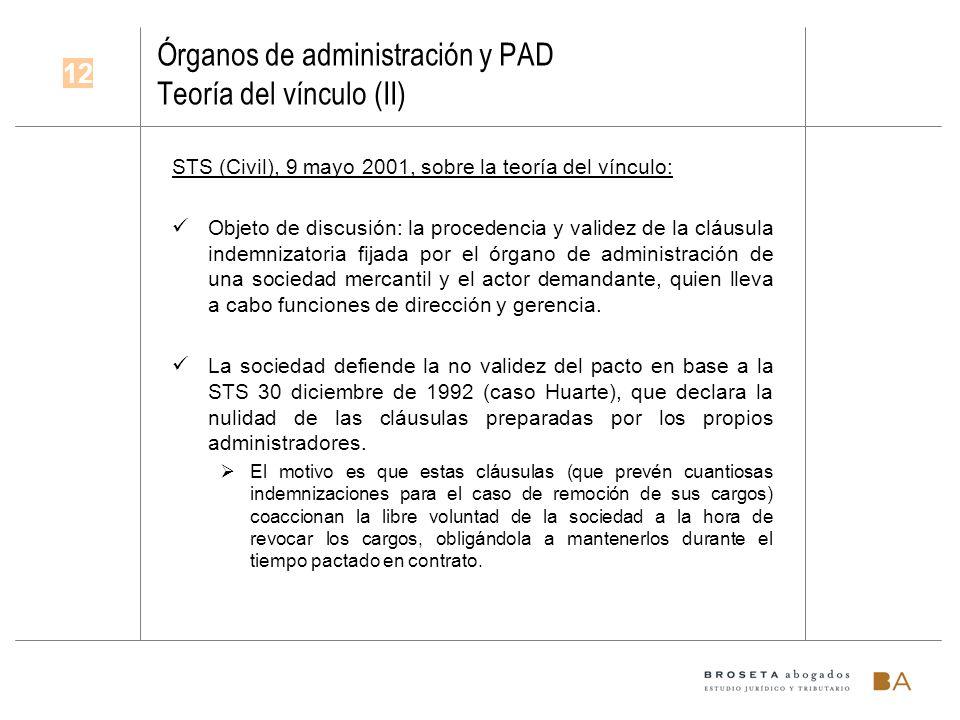 Órganos de administración y PAD Teoría del vínculo (II) STS (Civil), 9 mayo 2001, sobre la teoría del vínculo: Objeto de discusión: la procedencia y v