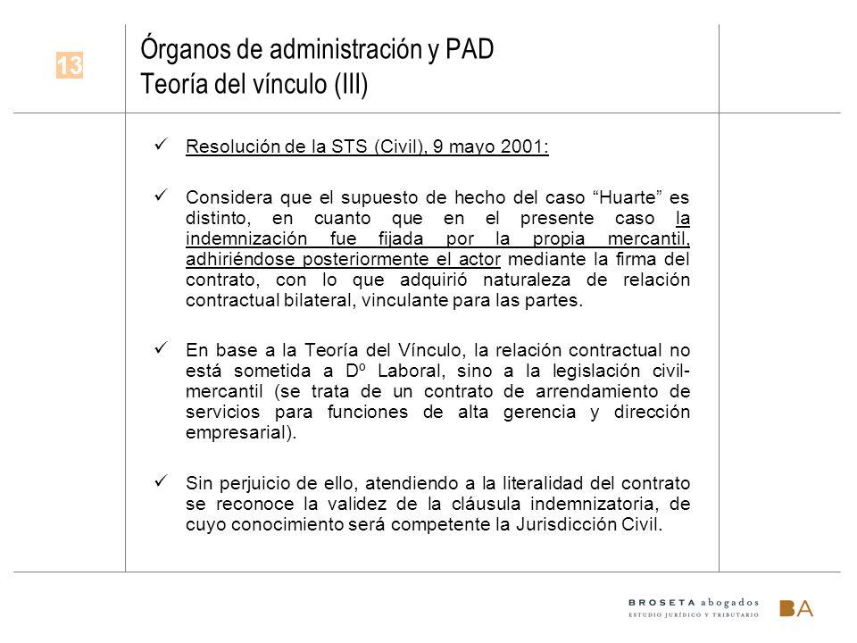 Órganos de administración y PAD Teoría del vínculo (III) Resolución de la STS (Civil), 9 mayo 2001: Considera que el supuesto de hecho del caso Huarte
