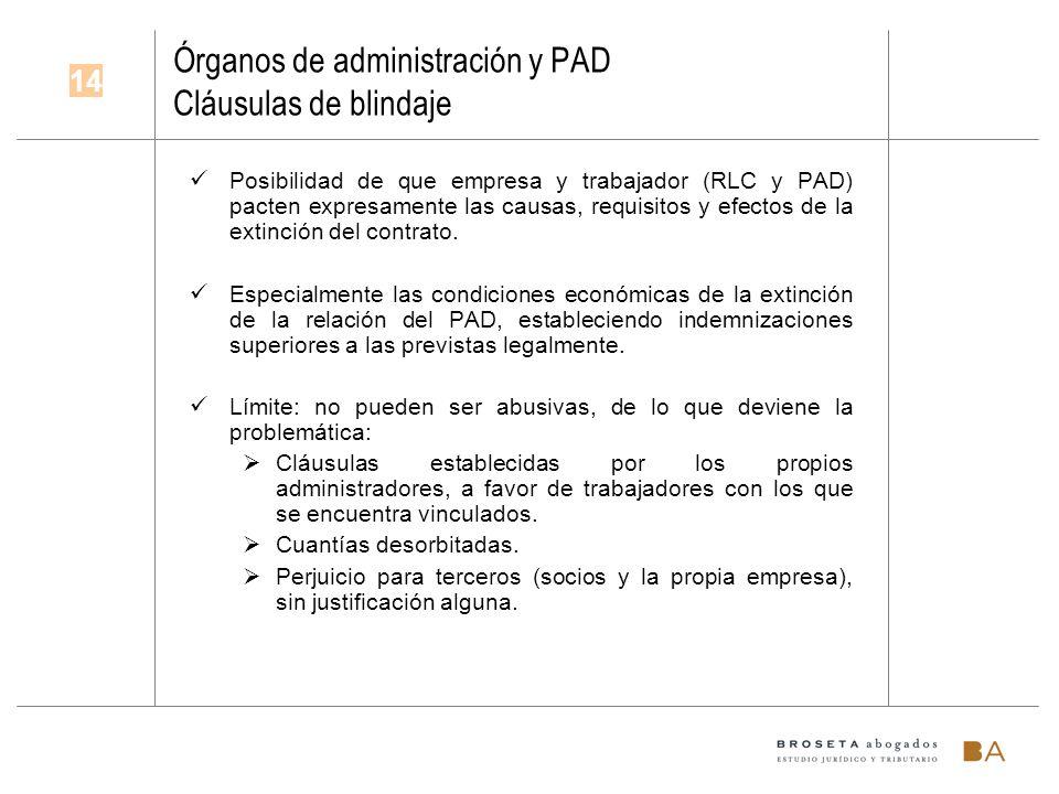 Órganos de administración y PAD Cláusulas de blindaje Posibilidad de que empresa y trabajador (RLC y PAD) pacten expresamente las causas, requisitos y