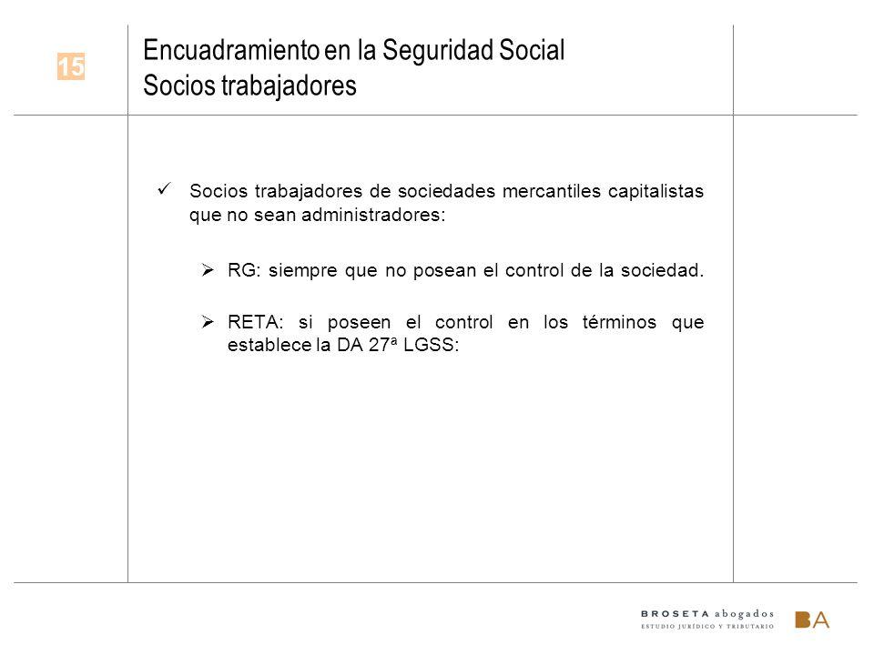 Encuadramiento en la Seguridad Social Socios trabajadores Socios trabajadores de sociedades mercantiles capitalistas que no sean administradores: RG: