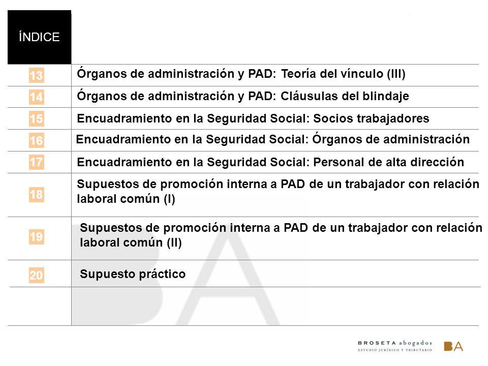 ÍNDICE 13 14 15 16 Órganos de administración y PAD: Teoría del vínculo (III) 17 18 Órganos de administración y PAD: Cláusulas del blindaje Encuadramie
