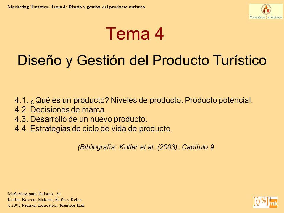 Marketing Turístico/ Tema 4: Diseño y gestión del producto turístico Marketing para Turismo, 3e Kotler, Bowen, Makens, Rufin y Reina ©2003 Pearson Education /Prentice Hall 2 ¿Qué es un producto.