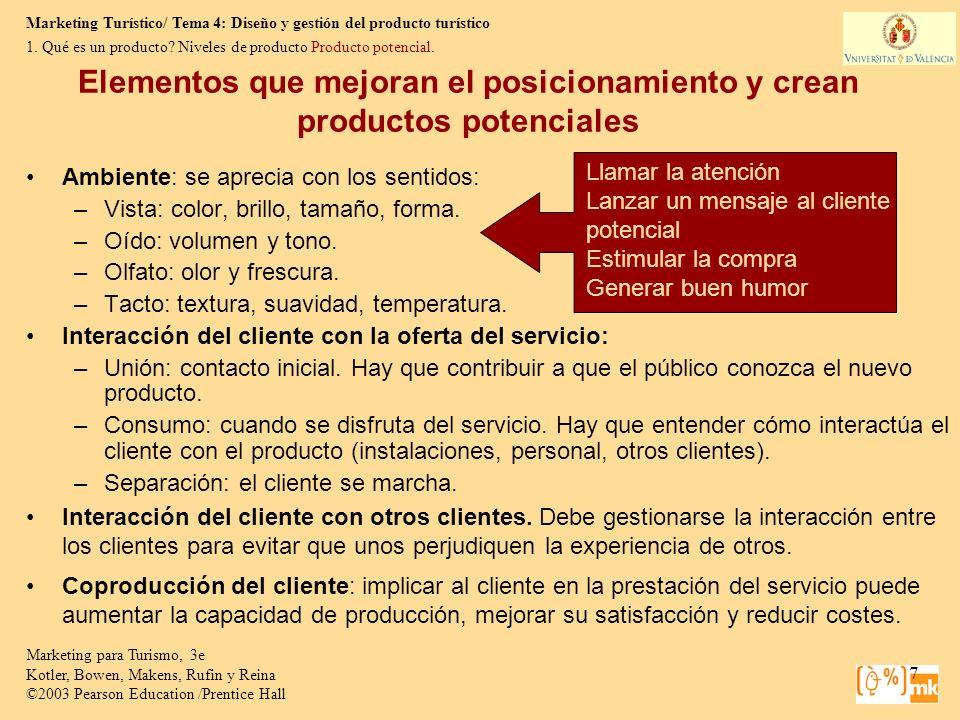 Marketing Turístico/ Tema 4: Diseño y gestión del producto turístico Marketing para Turismo, 3e Kotler, Bowen, Makens, Rufin y Reina ©2003 Pearson Education /Prentice Hall 18 1.