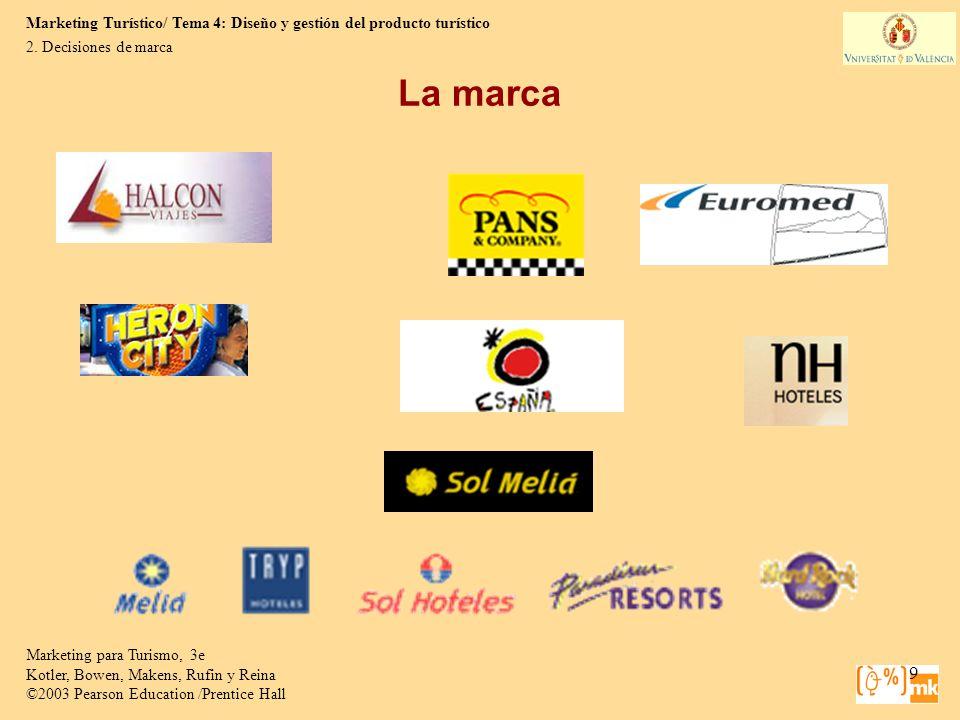 Marketing Turístico/ Tema 4: Diseño y gestión del producto turístico Marketing para Turismo, 3e Kotler, Bowen, Makens, Rufin y Reina ©2003 Pearson Education /Prentice Hall 30 4.