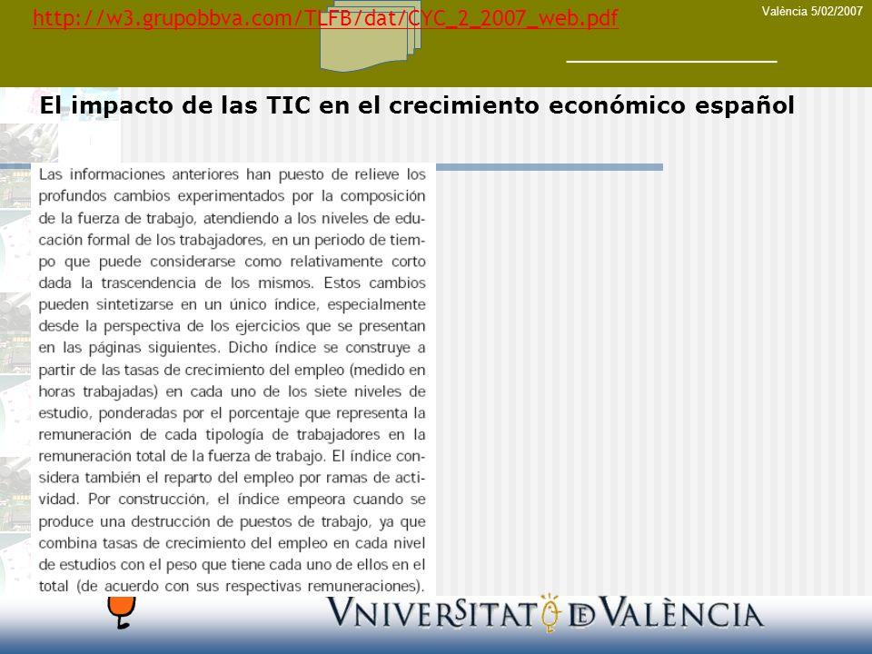 València 5/02/2007 El impacto de las TIC en el crecimiento económico español http://w3.grupobbva.com/TLFB/dat/CYC_2_2007_web.pdf