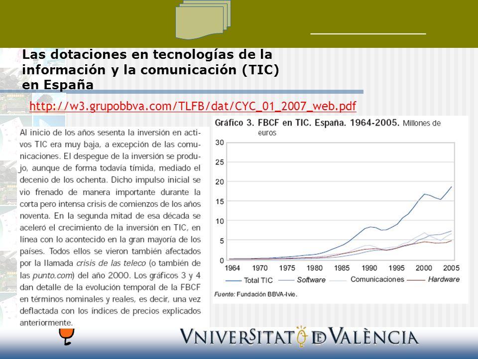 Las dotaciones en tecnologías de la información y la comunicación (TIC) en España http://w3.grupobbva.com/TLFB/dat/CYC_01_2007_web.pdf