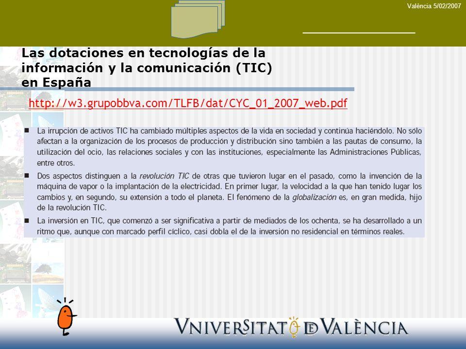 Las dotaciones en tecnologías de la información y la comunicación (TIC) en España