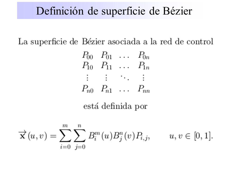 Propiedades de las superficies de Bézier Superficies polinómicas Invariancia afín Envoltura convexa Curvas frontera