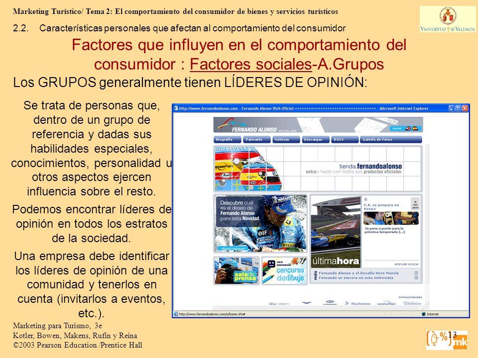 Marketing Turístico/ Tema 2: El comportamiento del consumidor de bienes y servicios turísticos 13 Marketing para Turismo, 3e Kotler, Bowen, Makens, Ru
