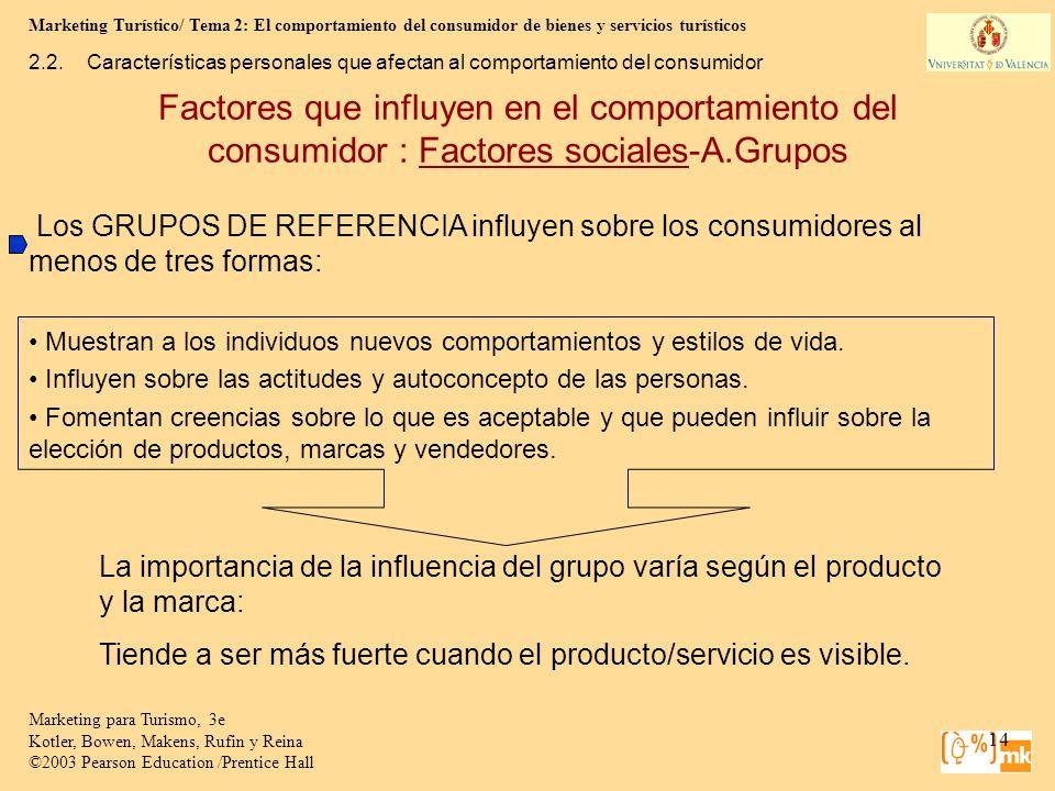 Marketing Turístico/ Tema 2: El comportamiento del consumidor de bienes y servicios turísticos 14 Marketing para Turismo, 3e Kotler, Bowen, Makens, Ru